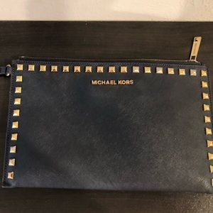 Michael Kors Navy wristlet/Wallet used.